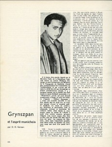 Centrale Magazine article page 1 about Herschel Grynszpan