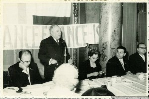 Menachem Begin with Isidore Franckel speaking at a conference