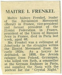 Article about Isidore Franckel leader of Herut, Former President of the Zionist Federation in France